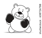 happy cartoon bear with boxing...   Shutterstock .eps vector #638726788