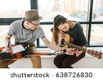 learning to play the guitar.... | Shutterstock . vector #638726830