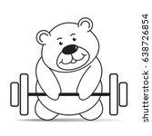cartoon bear lifting weight...   Shutterstock .eps vector #638726854
