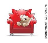 cartoon bear sleeping on chair...   Shutterstock .eps vector #638726878