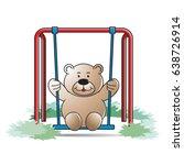 happy cartoon bear swing in...   Shutterstock .eps vector #638726914