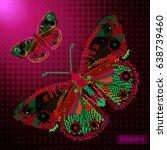 pixel butterfly   robot.... | Shutterstock .eps vector #638739460