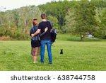 couple hugging in standing in...   Shutterstock . vector #638744758