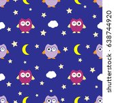 cute seamless pattern owl vector | Shutterstock .eps vector #638744920