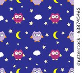 cute seamless pattern owl raster | Shutterstock . vector #638745463