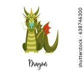 a cartoon dragon. chinese... | Shutterstock .eps vector #638746300