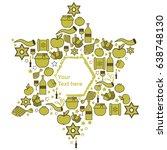 symbols of jewish holidays in... | Shutterstock .eps vector #638748130