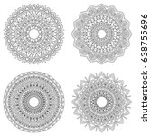 set of floral mandalas  vector... | Shutterstock .eps vector #638755696