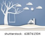 dry tree and swing with barn... | Shutterstock .eps vector #638761504