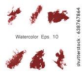 watercolor splashes. set of... | Shutterstock . vector #638767864