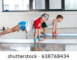 side view of sporty boy and... | Shutterstock . vector #638768434
