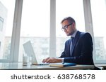 serious employer working in the ... | Shutterstock . vector #638768578