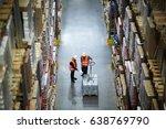 employer in helmet and uniform...   Shutterstock . vector #638769790