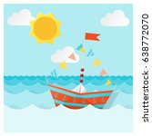 colorful paper ship sailing on... | Shutterstock .eps vector #638772070