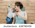 top view of mother with baby... | Shutterstock . vector #638780458