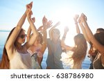 young friends raising hands... | Shutterstock . vector #638786980