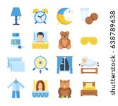 sleep time vector set of icons... | Shutterstock .eps vector #638789638