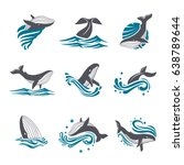 whale among sea waves and... | Shutterstock .eps vector #638789644