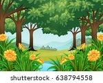 forest scene with flowers and... | Shutterstock .eps vector #638794558