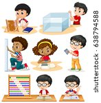 boys and girl doing math... | Shutterstock .eps vector #638794588