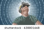 man wearing virtual reality... | Shutterstock .eps vector #638801668