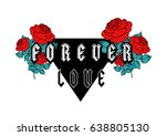 forever love text with red...   Shutterstock .eps vector #638805130
