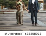 a loving couple is walking... | Shutterstock . vector #638808013