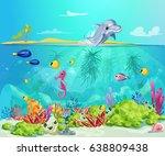 cartoon sea life template with...