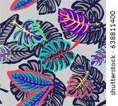 tropical leaves pattern... | Shutterstock .eps vector #638811400