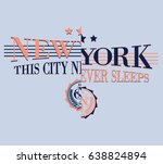 vintage college new york slogan ... | Shutterstock .eps vector #638824894
