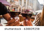 young couple with glasses of... | Shutterstock . vector #638839258