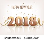 happy new year 2018. golden 3d... | Shutterstock .eps vector #638862034