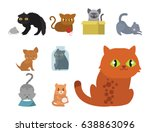 cute cats character different... | Shutterstock .eps vector #638863096
