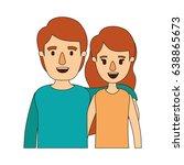 color image caricature half... | Shutterstock .eps vector #638865673