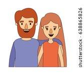 color image caricature half... | Shutterstock .eps vector #638865826