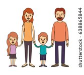 color image caricature family... | Shutterstock .eps vector #638865844