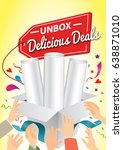 unbox the delicious deals.... | Shutterstock .eps vector #638871010