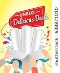 unbox the delicious deals.... | Shutterstock .eps vector #638871010