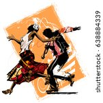 woman dancing with a trumpet... | Shutterstock .eps vector #638884339