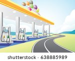 petrol station near highway for ... | Shutterstock .eps vector #638885989