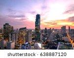 blurred cityscape of bangkok... | Shutterstock . vector #638887120