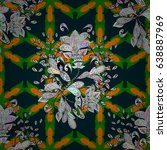 boho style flower seamless... | Shutterstock .eps vector #638887969