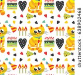 happy birthday. pattern with... | Shutterstock .eps vector #638902468