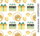 happy birthday. pattern with... | Shutterstock .eps vector #638902480