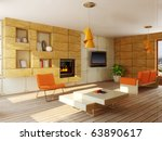 interior room with orange... | Shutterstock . vector #63890617