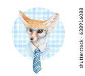 cool fox. watercolor... | Shutterstock . vector #638916088