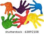 paint prints of child hands in... | Shutterstock . vector #63892108