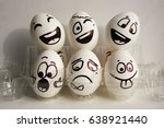 eggs face. cheerful company of...   Shutterstock . vector #638921440