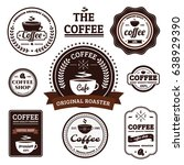 collection of retro coffee... | Shutterstock .eps vector #638929390