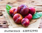 Plums Ripe Fresh On The Wood...
